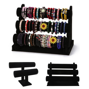 Mult-layer Black Portable Velvet Bracelet Bangle Necklace Display Stand Holder Headwear Watch Jewelry Organizer T-Bar Rack(China)