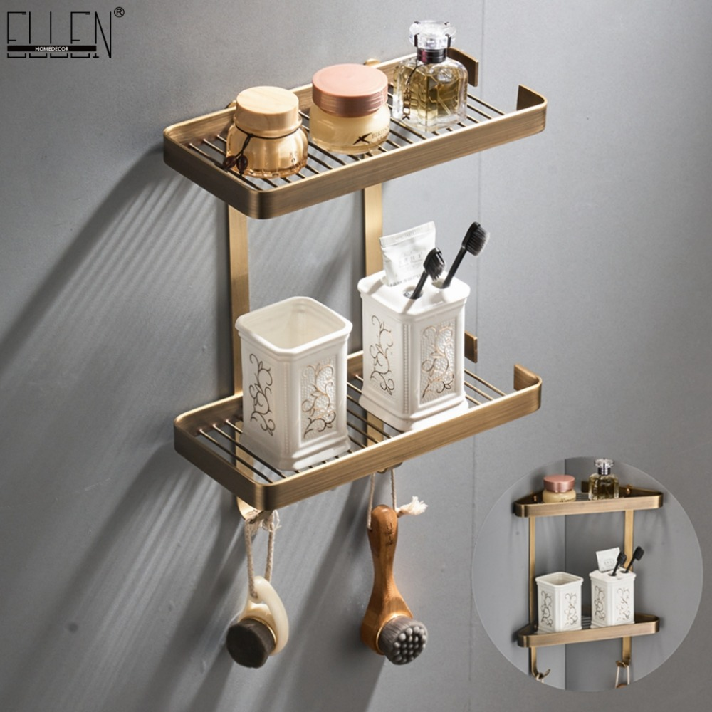 Antique Bronze Bathroom Corner Shelves 2 Layer Solid Copper Wall Bathroom Shelf Shampoo Storage Accessories Shelves ELF44