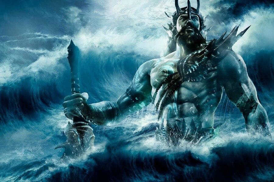 DIY cadre Poseidon, le Dieu Grec De La Mer Fantasy Illustrations Tissu Soie Affiche D'impression Photo Pour Décoration de La Maison