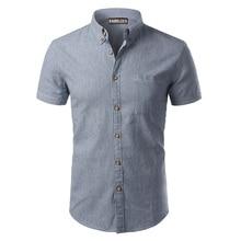 Striped Shirt Men 2017 Brand New Design Short Sleeve Mens Dress Shits 100% Cotton Casual Button Down Mens Shirts Plus Size 4XL