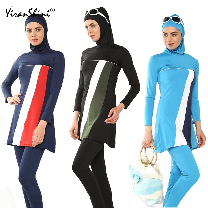 YIRANSHINI Plus Size 6XL Muslim Women Swimming Wear Clothing Outdoor Black Islamic Bathing Suit Hijab Muslim Arabian Beach Wear ...