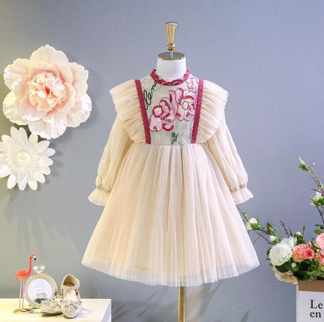 f6464c0a1 2018 Baby Kids Fall Court Style Embroidery Mesh Dresses