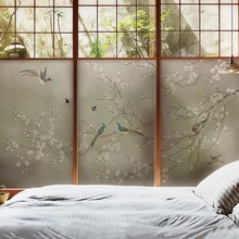 Electrostatic glue-free glass film privacy Birds and trees stained window sticker self-adhesive home door office Decorative