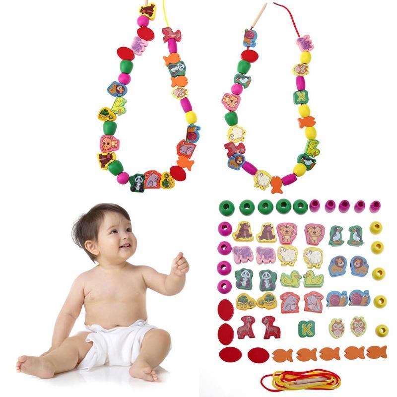 60pcs lot Cartoon Animal Wooden font b Toys b font Kids Stringing Threading Beads font b
