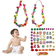 60pcs lot Kids Stringing Threading Beads Toy Cartoon Animal Wooden Toys Baby Educational DIY 3D Puzzle
