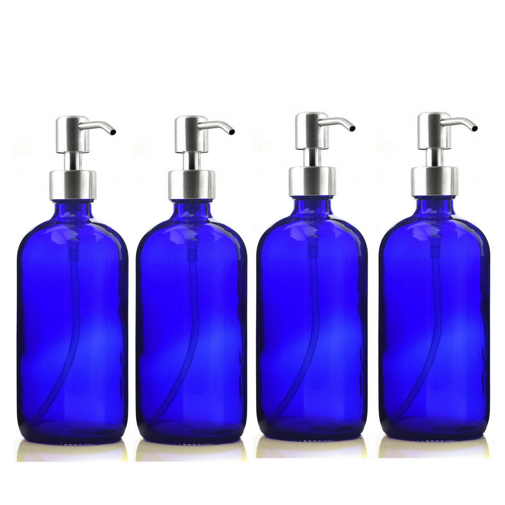 4 pack 500ml Refillable Blue Glass Pump Bottle w Stainless Steel Hand Pump for Bathroom Kitchen
