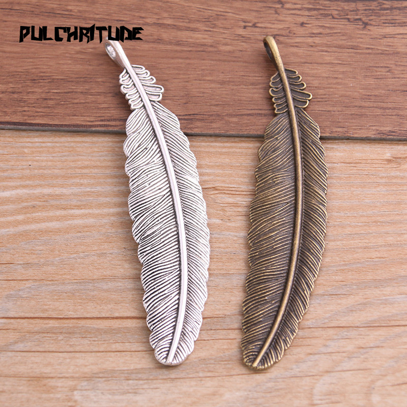 PULCHRITUDE 3pcs 21*104mm Two Color Copper Feather Plumage Charms Pendants Bookmark For Books For DIY Jewelry Making Findings