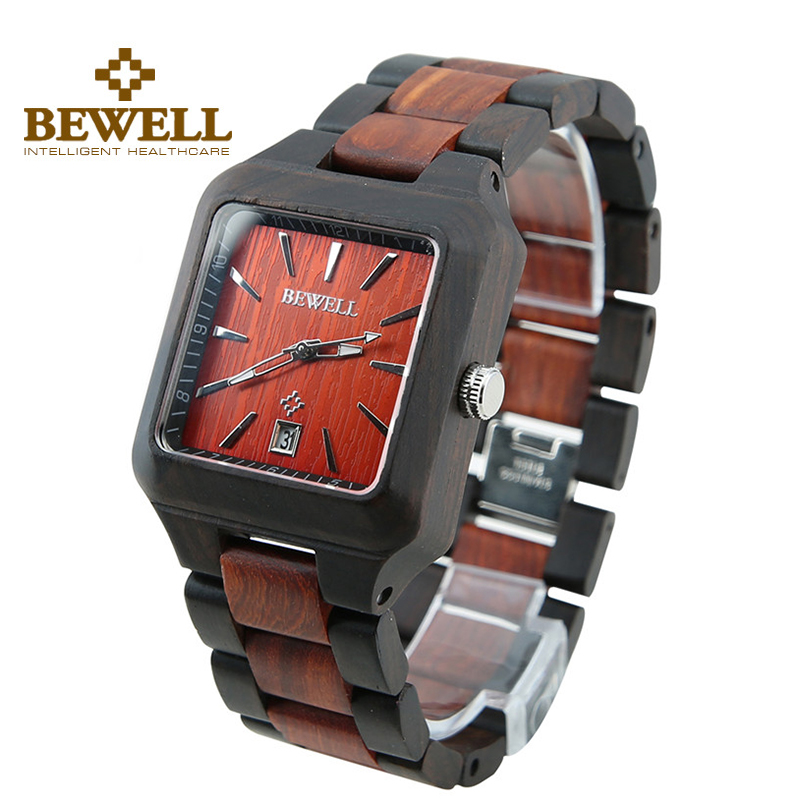 BEWELL Men Square Dial Red And Black Wood Watch Auto