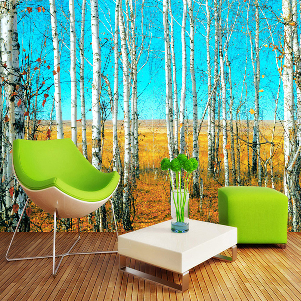 Custom Size HD Birch Forest 3D Nature Landscape Photo Wallpaper Large Wall Painting Background Living Room Mural Wall Paper spring abundant flowers rich large mural wallpaper living room bedroom wallpaper painting tv background wall 3d wallpaper