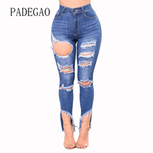 Ripped Hole Skinny Hot New Woman Push Up Denim Mujer Jeans Feminino Female Womens Femme Boyfriends Pants Women Large Plus Size