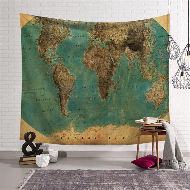 Hippie Mandala World Map Tapestry Wall Room Decorations Mural Art  Fabric Wall Decals Nursery Carpets Tapestry W3-new-cc-1