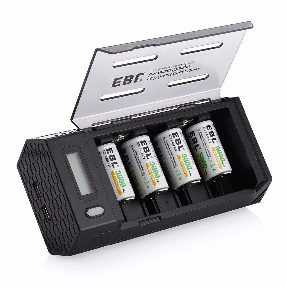 EBL 4 pcs/lot 5000 mAh Batteries rechargeables + chargeur de batterie pour AA AAA C D 9 V Ni-MH ni-cd batterie avec double Ports USB
