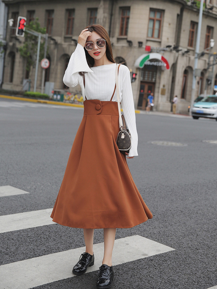 2017 early autumn sweet slim long A line spaghetti strap braces skirt solid knee length long women skirt student