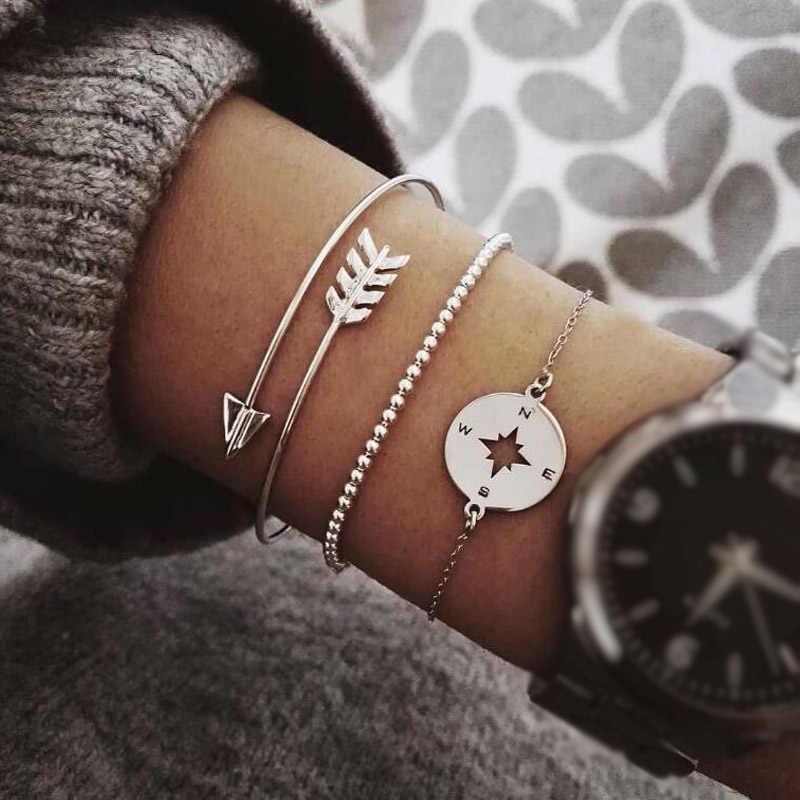 Rinhoo 3 шт./компл. богемный женский браслет наборы полые стрелки бусины Компас Серебряный браслет-цепочка женский изысканный Шарм ювелирные изделия подарок