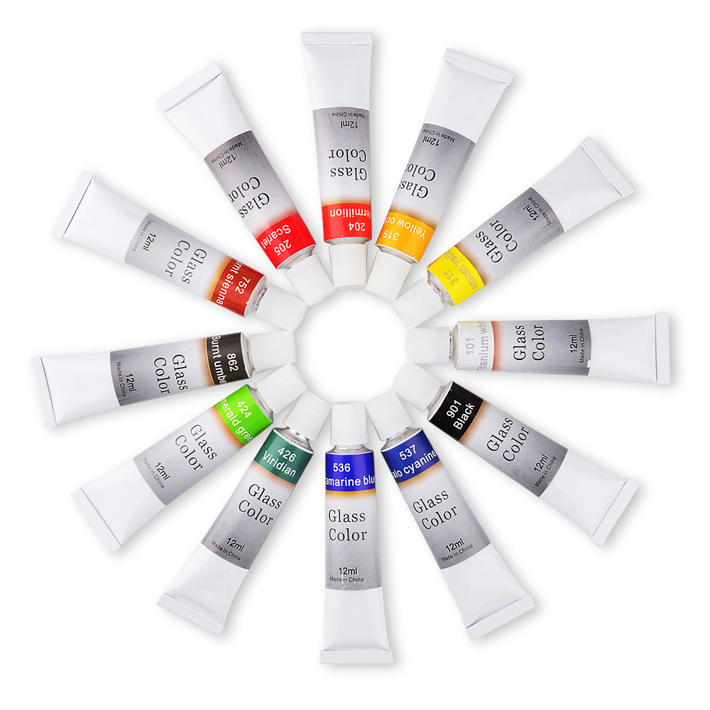 Stain Glass Paint Set - (12 Count, 12 ml Tubes) Kit for Adults, Beginners, Kids, Professionals, Artists