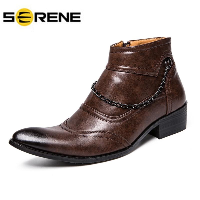 De Chaîne marron D'affaires High Chaussures Noir Cheville Cut Richelieus Hommes Tendances Robe Décontractée Bottes Martin Hiver YRn4EWqHH