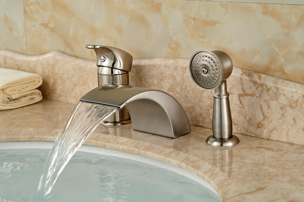 Brushed Nickel Roman Waterfall Spout Tub Faucet Bathroom Sink Mixer ...