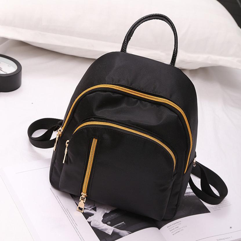 MOLAVE Backpacks high quality canvas Black Fashion Gold vertical zipper Girls Backpacks Female backpack women mar29