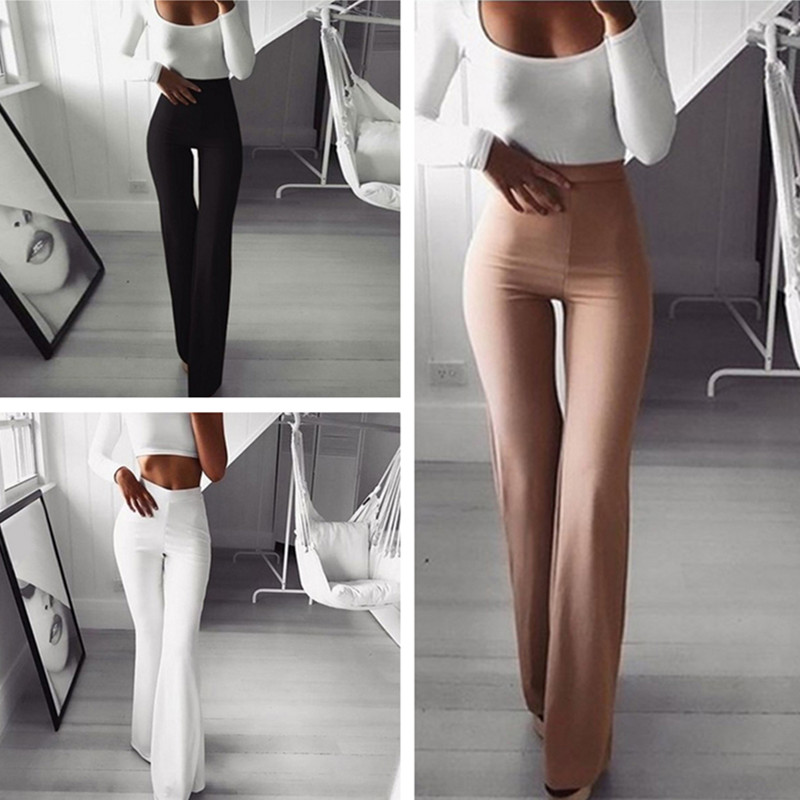 Spring Summer Fashion Women Party Mid Waist Slim Fit Solid Stretchy Bell Bottom Flare Trousers   Wide     Leg     Pants