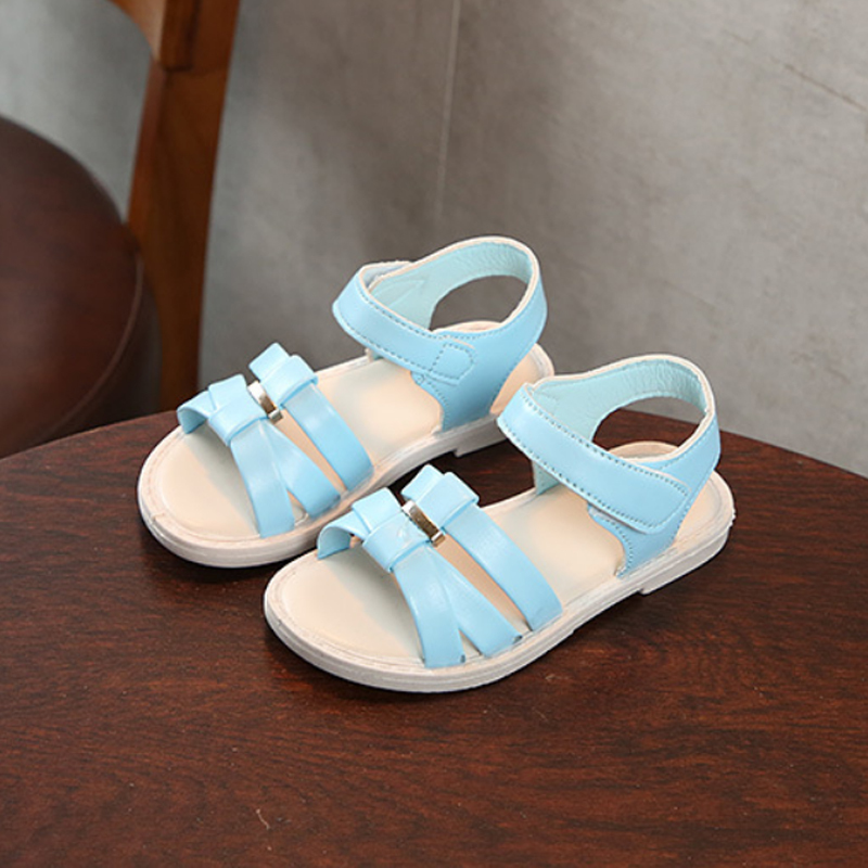 2018 New Summer Beach Sandals Girl Girl Soft Breathable Sandals Cute Casual Children Fashion PU Leather Flats