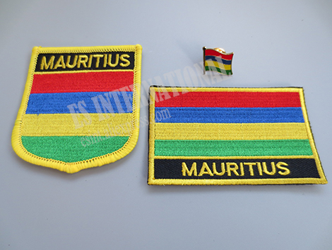 National Flag Embroidery Patches and Metal Flag Lapel Pin MAURITIUS