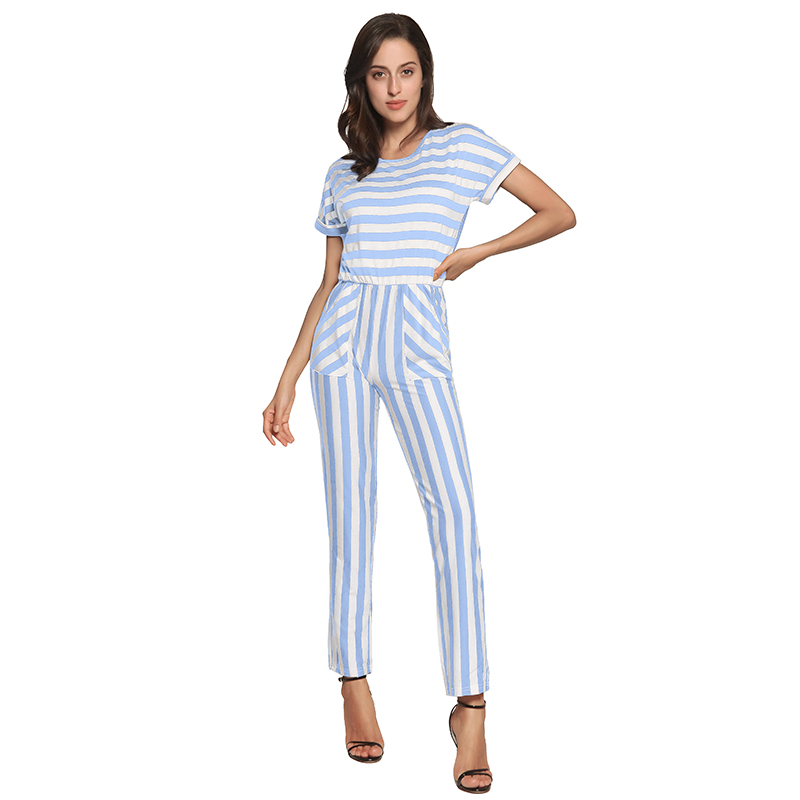 7580859ae19 2019 Short Sleeve Summer Rompers Womens Jumpsuit Blue Striped ...