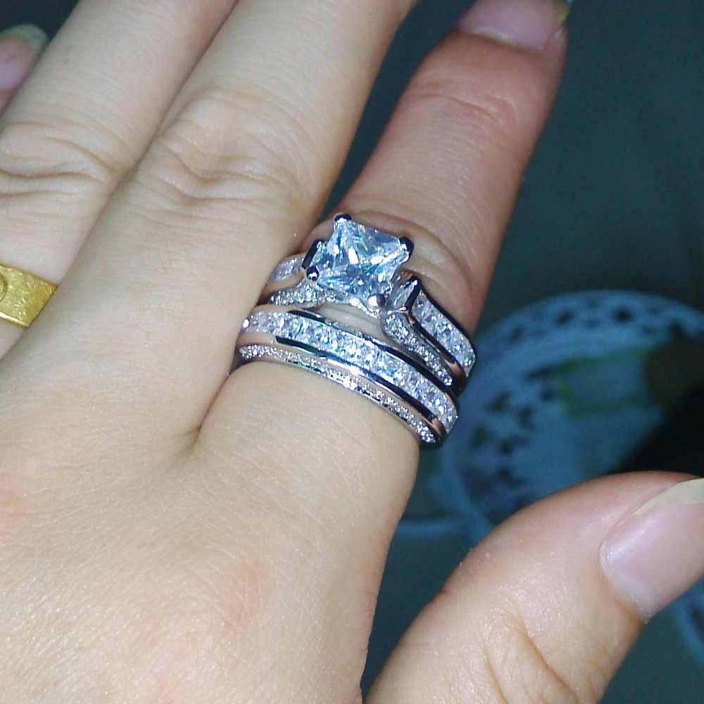 Choucong Wieck принцесса огранка антикварные ювелирные изделия Dazzing 925 пробы серебро Белый AAA CZ камни свадебное кольцо подарок Размер 5-11