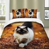 3D Bedding Set Cat Dog Print Comforter Duvet Cover Lifelike Bedclothes with Pillowcase Bed Set Home Decor Kids Gift