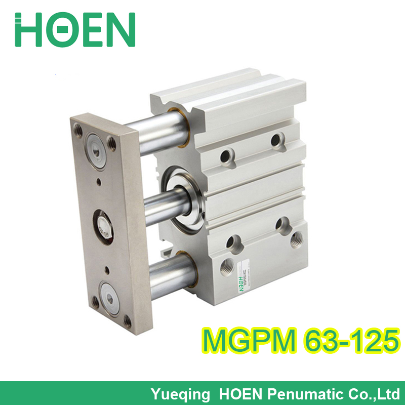 MGPM63-125 63MM BORE 125mm stroke Compact pneumatic air cylinder MGPM with guide rod cylinder bore size 63mm 40mm stroke smc type compact guide pneumatic cylinder air cylinder mgpm series