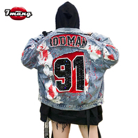 2018 new autumn women street graffiti letter printing sequins jeans jackets long sleeve party punk loose lapel denim coat
