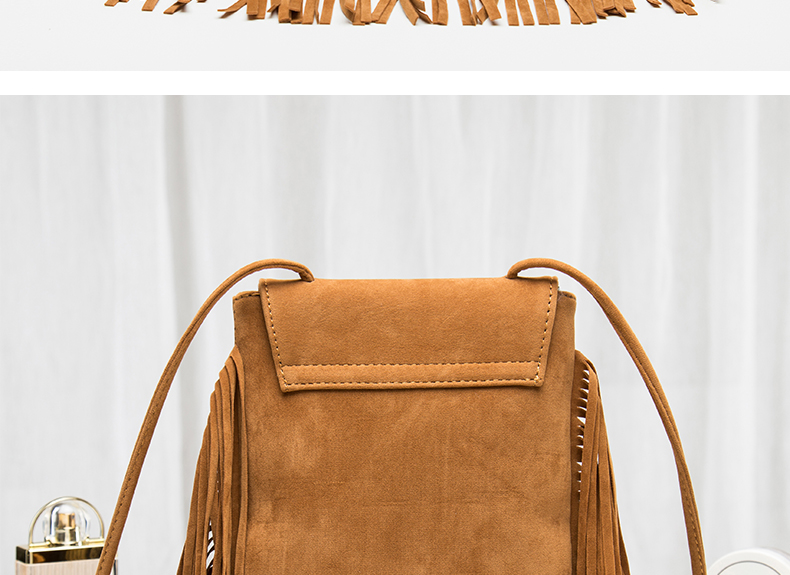 Hippie Suede Fringe Tassel Messenger Bag Women Hobo Shoulder Bags Crossbody Handbag (14)
