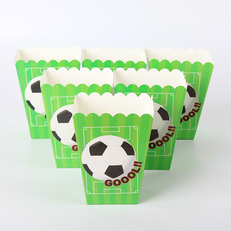 6pcs/lot Football&Soccer Theme Candy Box Popcorn Box Happy Birthday Party Supply Popcorn Bags Kids Favors Disposable Package