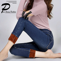 Super Warm Thick Stretch Jeans Pants For Women Winter Soft Fleece Denim Trousers Female Jeans Slim