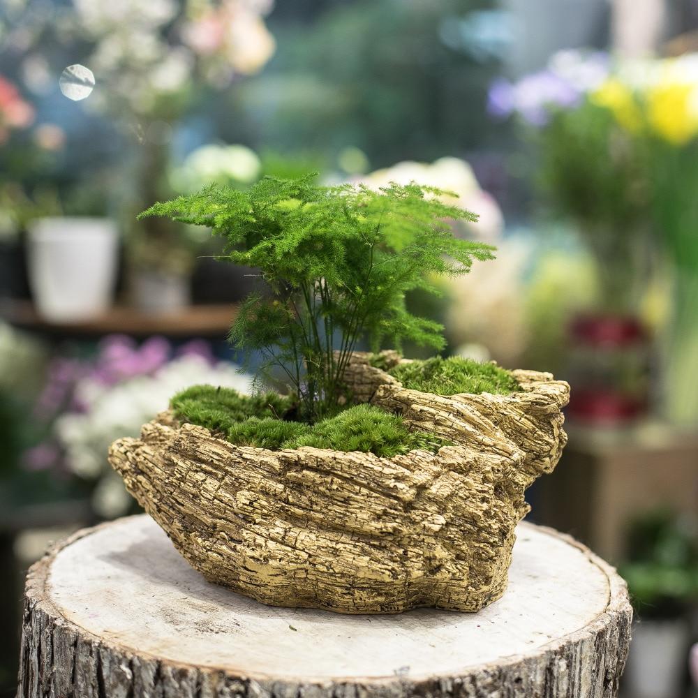 Resin Artificial Twisted Driftwood Flower Pot Sculpture