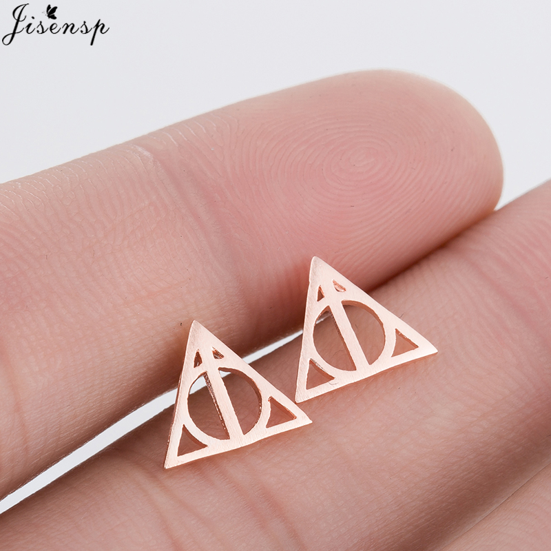 Tiny Halloween Earrings Deathly Hallows Stud Earrings for Women Rose Gold Small Hogwarts Jewelry Valentines Day Gift