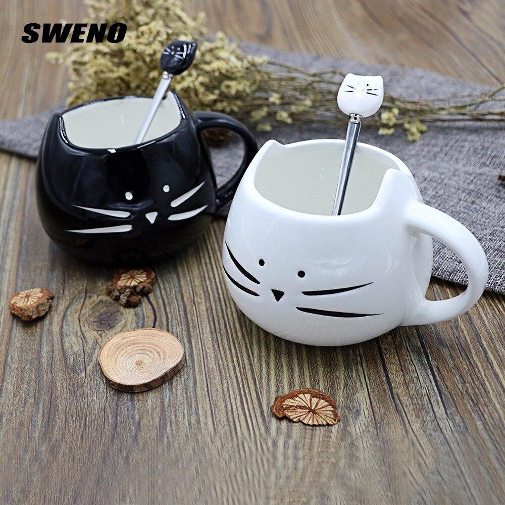 SWENO Cute Ceramic Coffee Mug Novelty Milk Tea Cups And Mugs Creative Cat Mugs With Spoon Animal Mugs Drinkware Christmas Gift