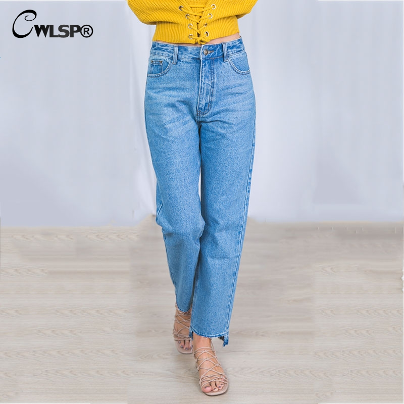 CWLPS Autumn New Straight Loose Jeans women Mid Waist Tessal Asymmetry trousers hem Boyfriend Style Denim pants  QL3132 women jeans autumn new fashion high waisted boyfriend street style roll up bottom casual denim long pants sp2096