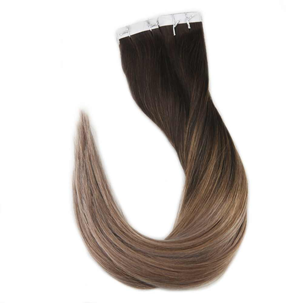 Full Shine Ombre Color 40pcs 100g 100% Real Human Hair Balayage Hair Tape in Hair Extensions Blonde For Woman Machine Made Remy