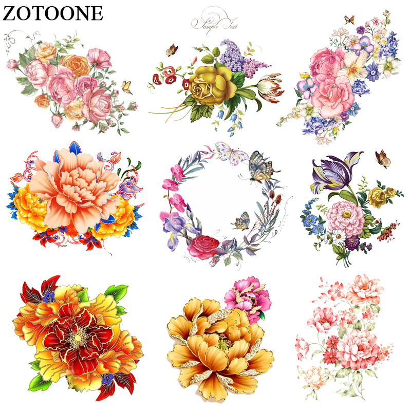 ZOTOONE Flower Patches Iron On Transfers For Girl Clothes DIY Dresses Heat Vinyl Transfer A-level Washable Clothes Stickers E rysunek kolorowy motyle