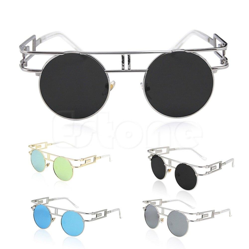 Round Vintage Retro Hippy Steampunk Mens Womens Sunglasses Hollow Frame F05