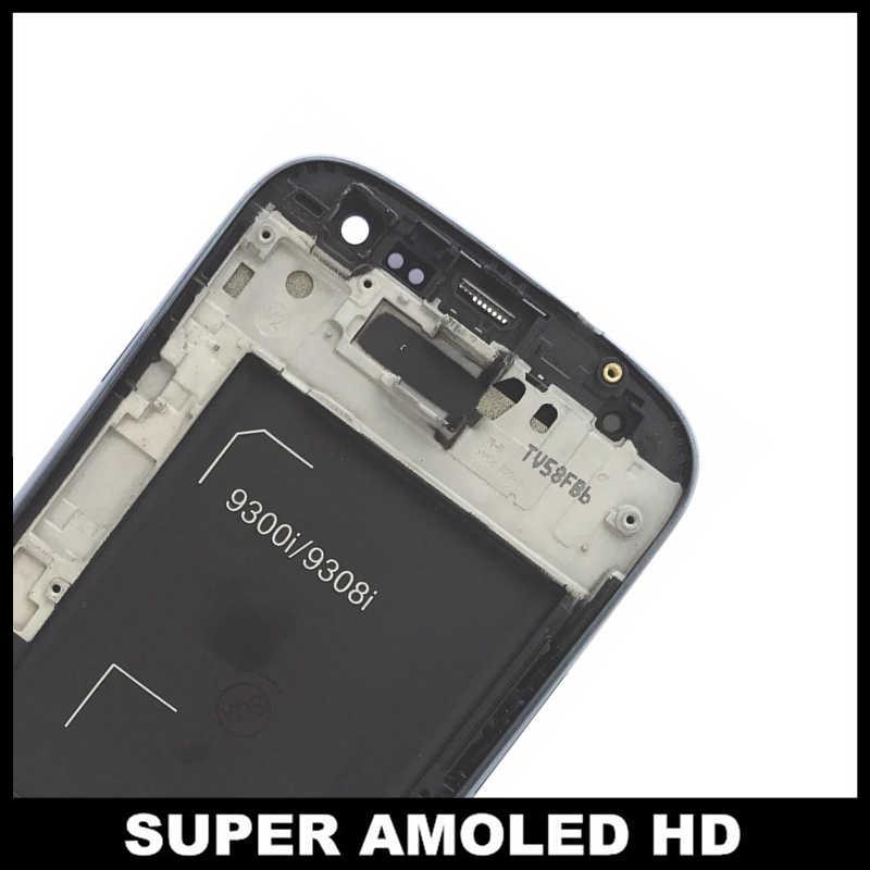 قطعة بديلة لمستشعر شاشات Lcd لسامسونج غالاكسي SIII S3 الجدد i9300i i9301 i9301i i9308i AMOLED شاشة الكريستال السائل مع محول الأرقام بشاشة تعمل بلمس