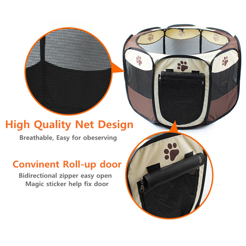 Breathable Mesh Waterproof Foldable Pet Dog Playpen Outdoor Portable