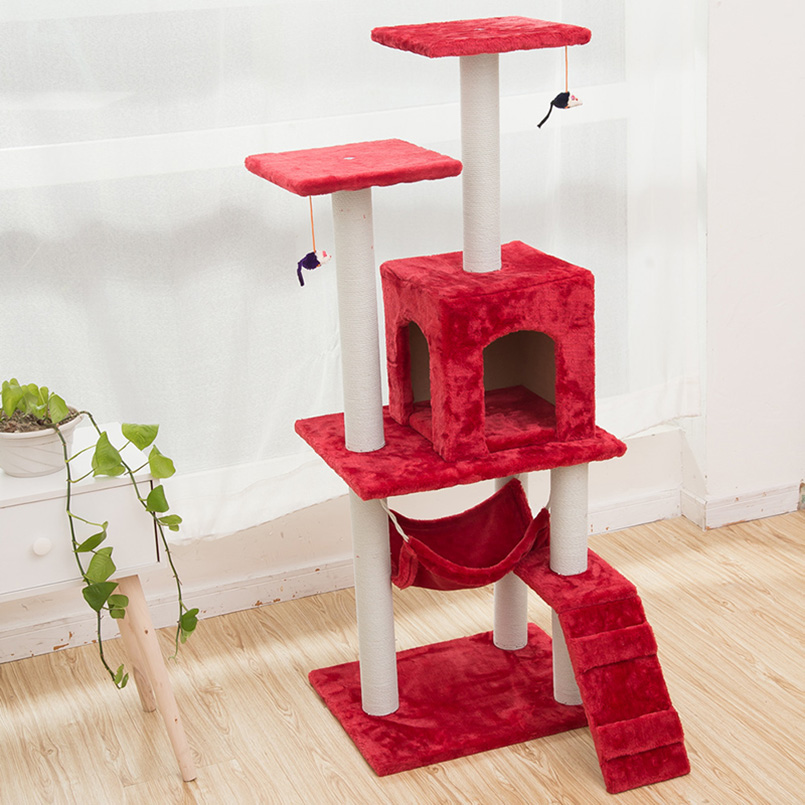H125cm Cat Toy Tree House Bed With Mouse Tree Kitten Furniture Scratchers  Solid Wood For Cats Climbing Frame Cat Condos In Dog Accessories From Home  ...