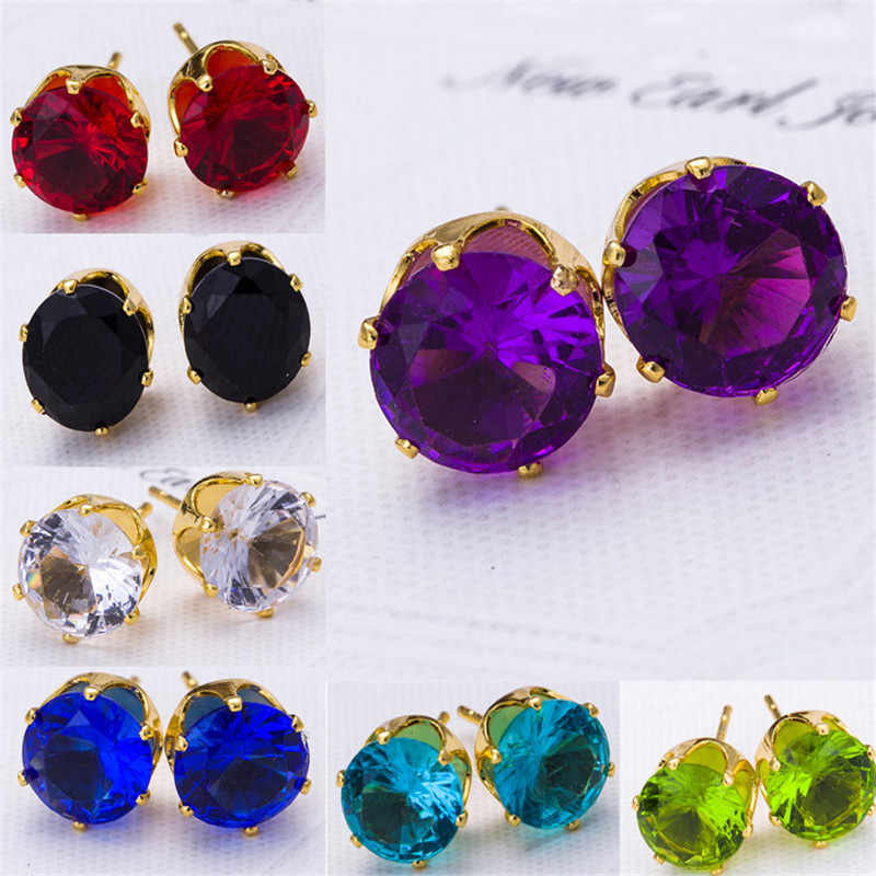 Fashion vintage women crystal stud earrings 2019 Cubic zirconia red blue black small earrings Charms Wedding Party Gifts jewelry