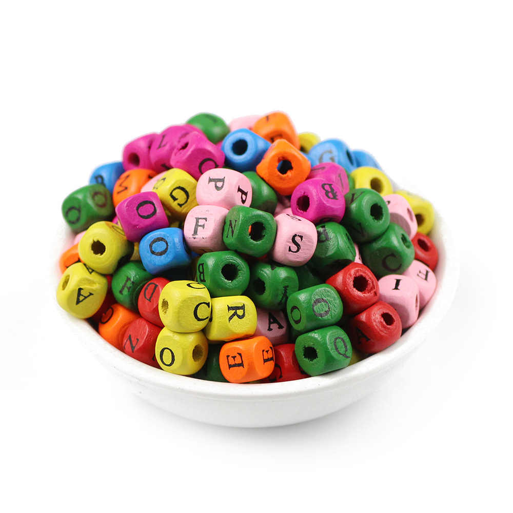 JHNBY 100 adet 8/10mm ahşap karışık mektubu kare boya doğal ahşap dağınık boncuklar takı kolye ve bilezik DIY bulguları