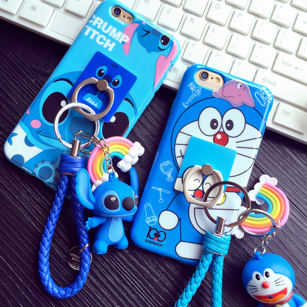 imágenes para Anillo de Soporte de Cuello de dibujos animados Cupo el Caso de TPU Para el iphone 6 6 s más 7 7 más caso de la Puntada 3D Doraemon Silicio protector de cobertura total