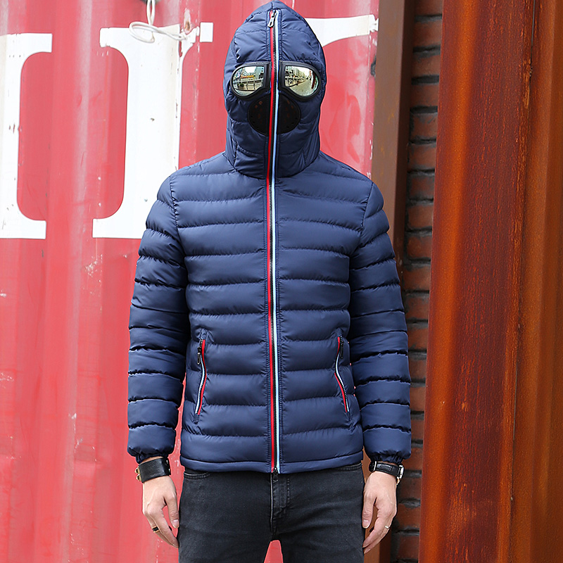 Image 3 - New Winter Jacket Men Thermal Jacket Warm Men Parkas Fancy Hooded  with Glasses youth Man Jackets Outwear strange Clothing 1049Parkas