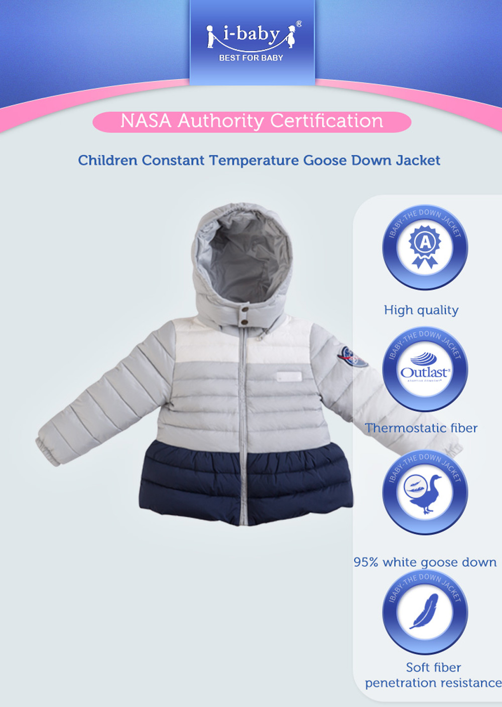 3e6c39207fd4 i baby Down Coat Outlast Kids Patchwork Outwear Hooded Baby Cozy ...