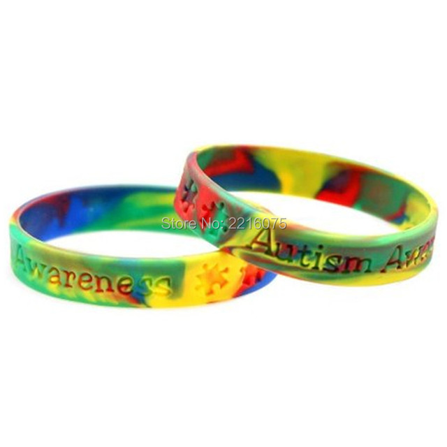 300pcs Debossed Swirl Autism Awareness Medical Alert Wristband Silicone Bracelets Free Shipping By Dhl Express