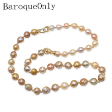 BaroqueOnly 2019 Mixed-colour Edison pearl necklace  Baroque Natural Freshwater Pearl Necklace sweater chain for woman gift